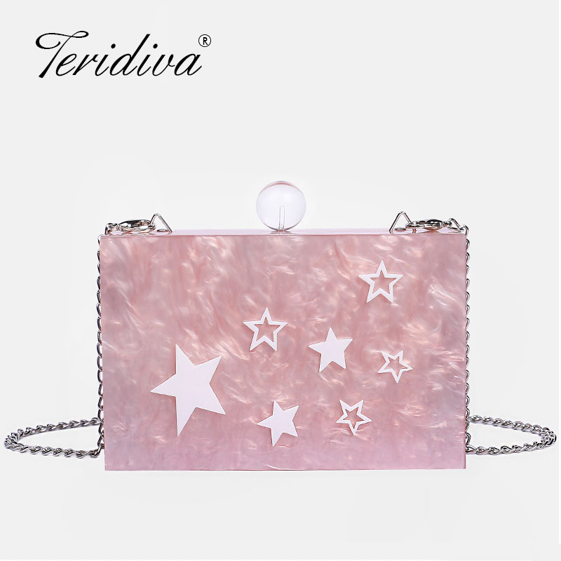 Clutch-Bag Acrylic Messenger-Bag Evening-Shoulder-Box Party Elegant Fashion Brand Women
