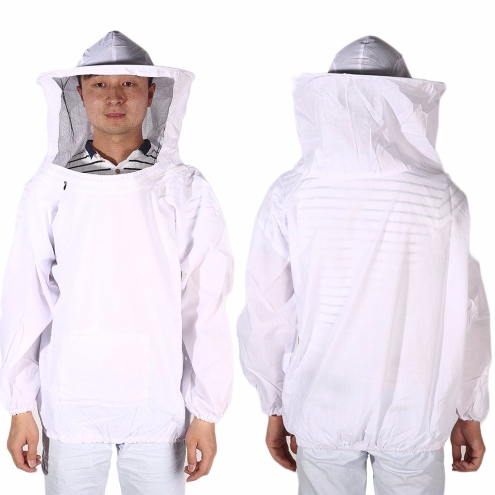 Solid Color New Large Beekeeping Bee Keeping Jacket Clothes Pull Over Smock with Veil safe clothing white 6 frames reversible honey extractor for bee keeping