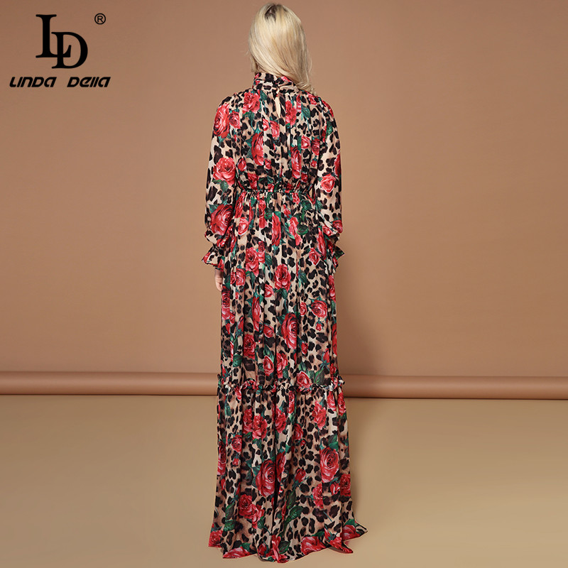 Image 4 - LD LINDA DELLA Fashion Runway Long Sleeve Maxi Dresses Women's Elegant Party Rose Floral Leopard Print Long Dress Holiday Dress-in Dresses from Women's Clothing