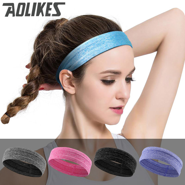 AOLIKES skid-free elastic Silicon Sweatband Quick Dry Hair Bands Sweat  Absorbing Running Yoga Gym Head Band Sports Headbands 40ed85f83ab