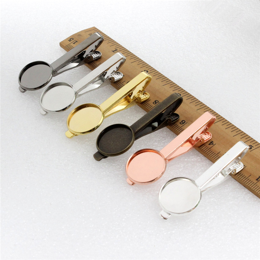 Copper Fit 16mm 18mm 20mm Round Cabochon High Quality Necktie Tie Bar Mens Clamp Tie Clip Blank Base Tray Men Accessories 5pcs
