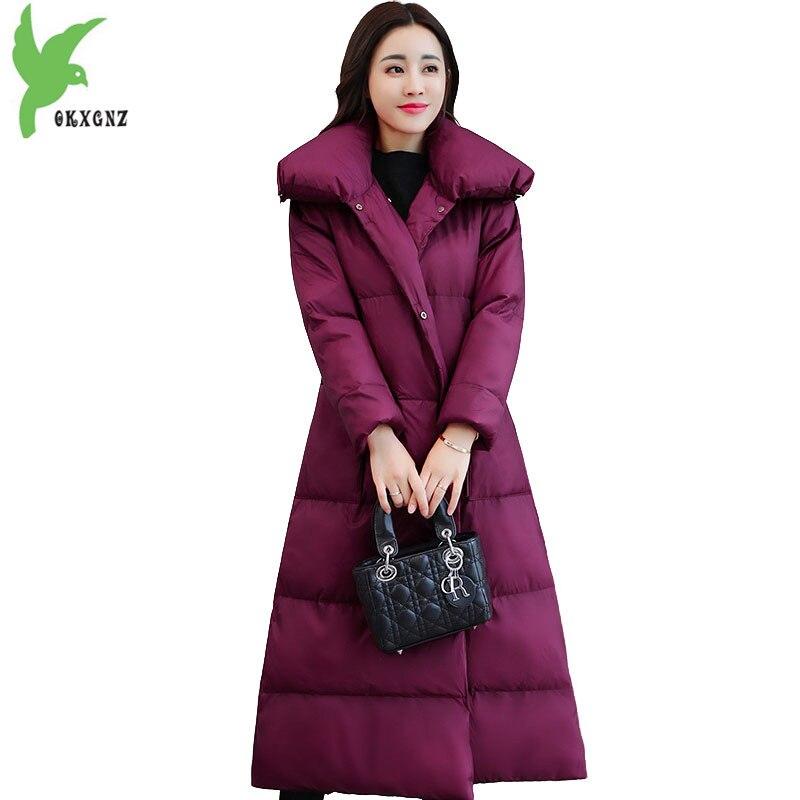 Winter   Parkas   Women 2018 Simple Down cotton jacket fashion Stand collar long coat Plus size female Thick warm   parkas   OKXGNZ 2144