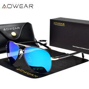 Image 3 - AOWEAR marka projektant spolaryzowane okulary mężczyźni lotnictwa powłoka lustrzane okulary przeciwłoneczne dla mężczyzny kobiety óculos gafas lentes de sol