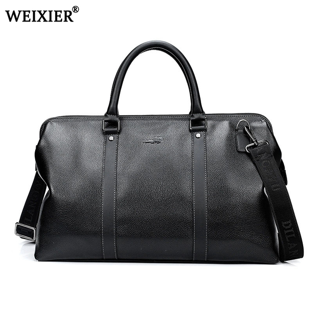Fashion Split Leather Men Travel Bag Carry On Luggage Duffel Overnight Weekend