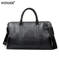 Fashion Split Leather men travel bag Carry on Luggage bag men Leather Duffel bag Overnight Weekend bag big Tote Handbag Black