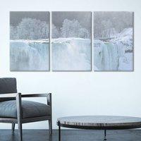 3 Panel Canvas Wall Art Landscape Frozen Waterfall in Winter Giclee Print Gallery Wrap Modern Home Decor 3 Panels