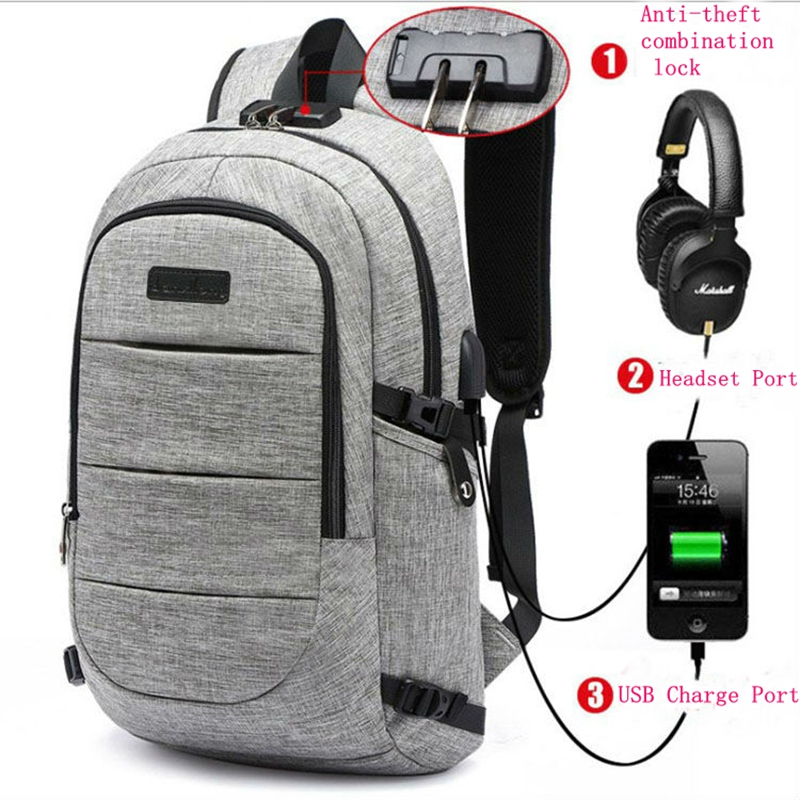2017 NEW design Anti-theft USB Charging Travel Backpack Men Women school bag Large 15.6 Laptop bag with Combination Lock kingsons external charging usb function school backpack anti theft boy s girl s dayback women travel bag 15 6 inch 2017 new