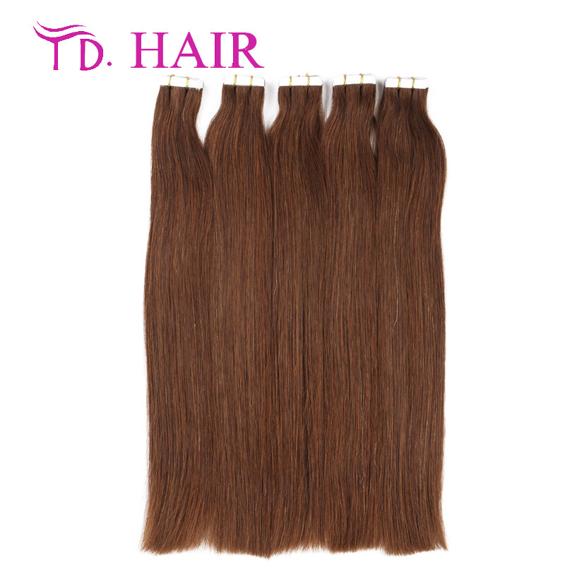 #4 Hot selling tape in human hair extensions dark brown color 20pcs 40pcs/package skin weft hair extensions human virgin hair