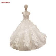 850321 Short Sleeve Bridal High Collar Wedding Dress