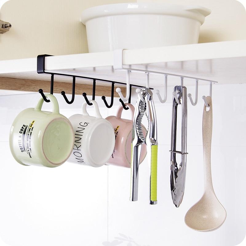 Estante de almacenamiento de cocina colgante café taza de té gancho estante de almacenamiento estante organizador de baño soporte B