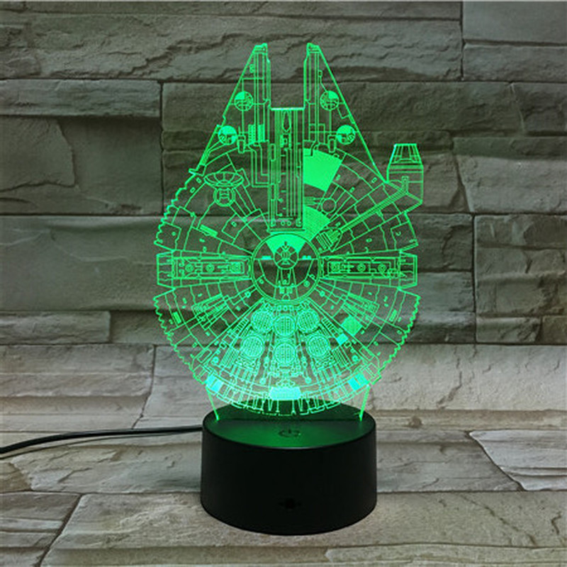Novelty Lights Millennium Falcon Starship Office Decoration Kids Boy Child Nightlight Birthday Gift 3d Led Night Light Star Wars
