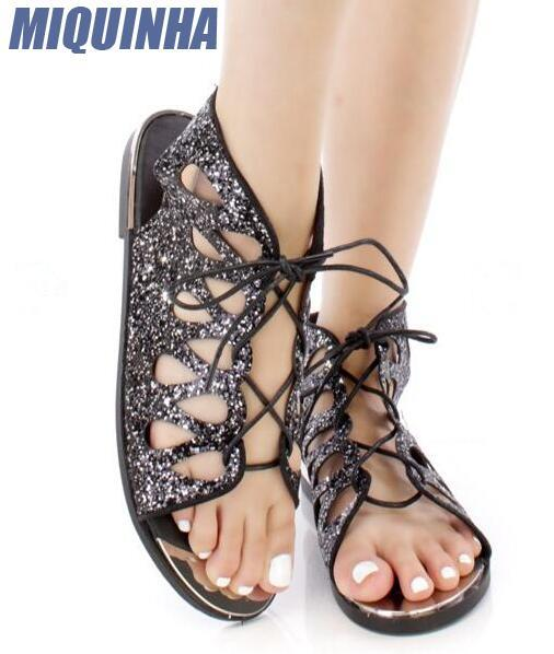MIQUINHA Summer Newest Bling Black/Silver Glitter Women Open Toe Sandals Sexy Cut Out Ladies Lace Up Flat Sandals Slingback Shoe