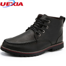 UEXIA New Fashion Men's Leather Shoes Men Boots Handmade Comfortable Quality Ankle Work&Safety Rubber Boots For Men Work Shoes