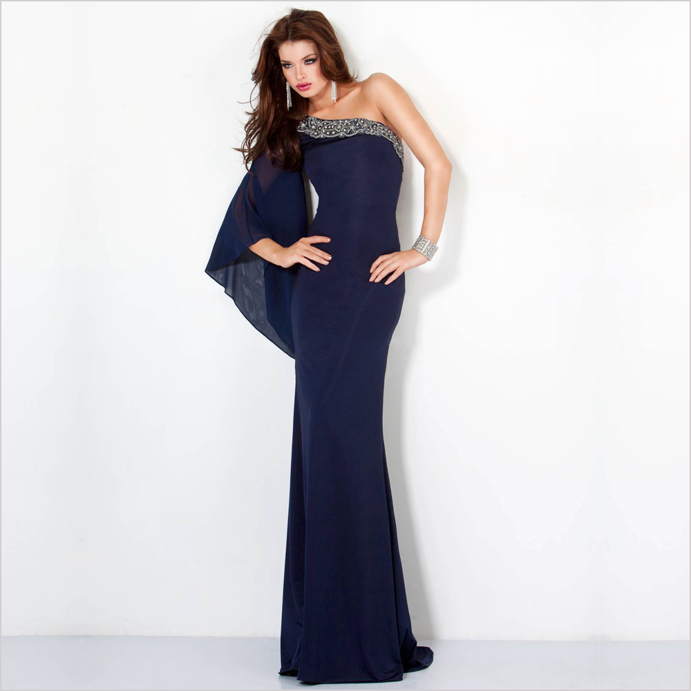 Custom Made Fashionable Vestidos de Noite 2015 Chic One-Shoulder Sleeve Slim Chiffon Mermaid   Evening     Dresses   PF171
