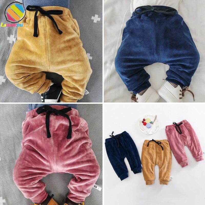 Lemonmiyu Trousers Harem-Pants Newborn Baby Winter Autumn Warm Velvet Thick Sweat Cashmere