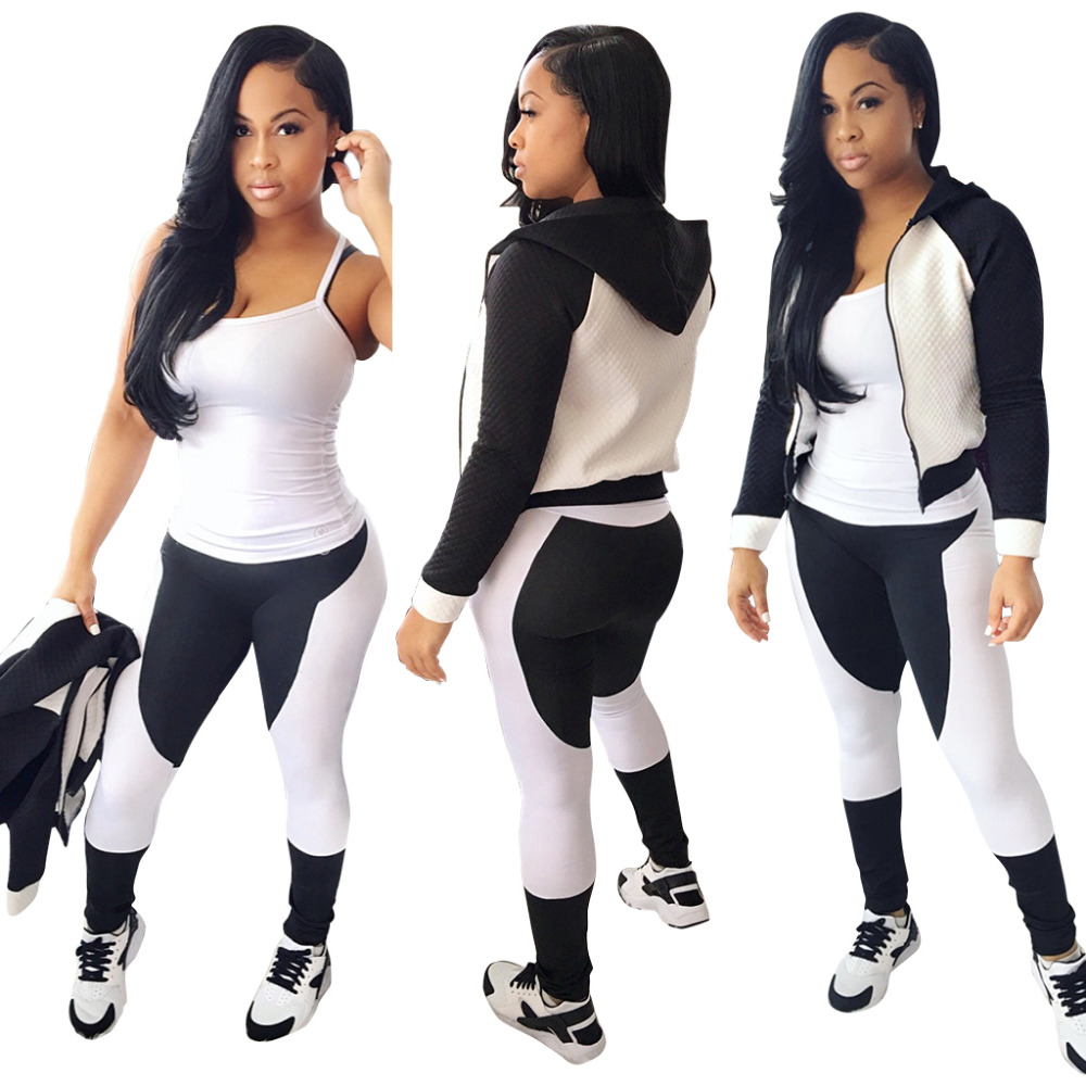 Europe and the United States womens new winter fashion black and white long sleeve hooded pantsuits 2 piece