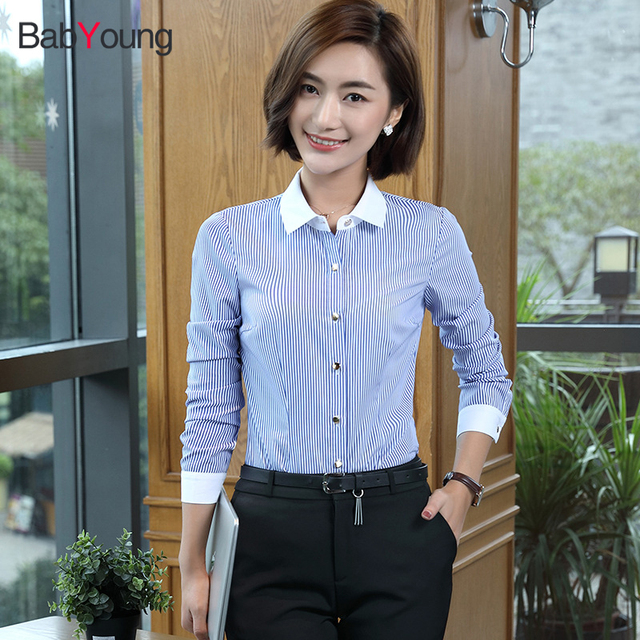 48e65f47491b8 BabYoung 2017 New Women Blouse Blue Stripe Shirt Collar Long Sleeve Formal  Tops Ladies Work Wear blusa Plus Size 4XL OL Style