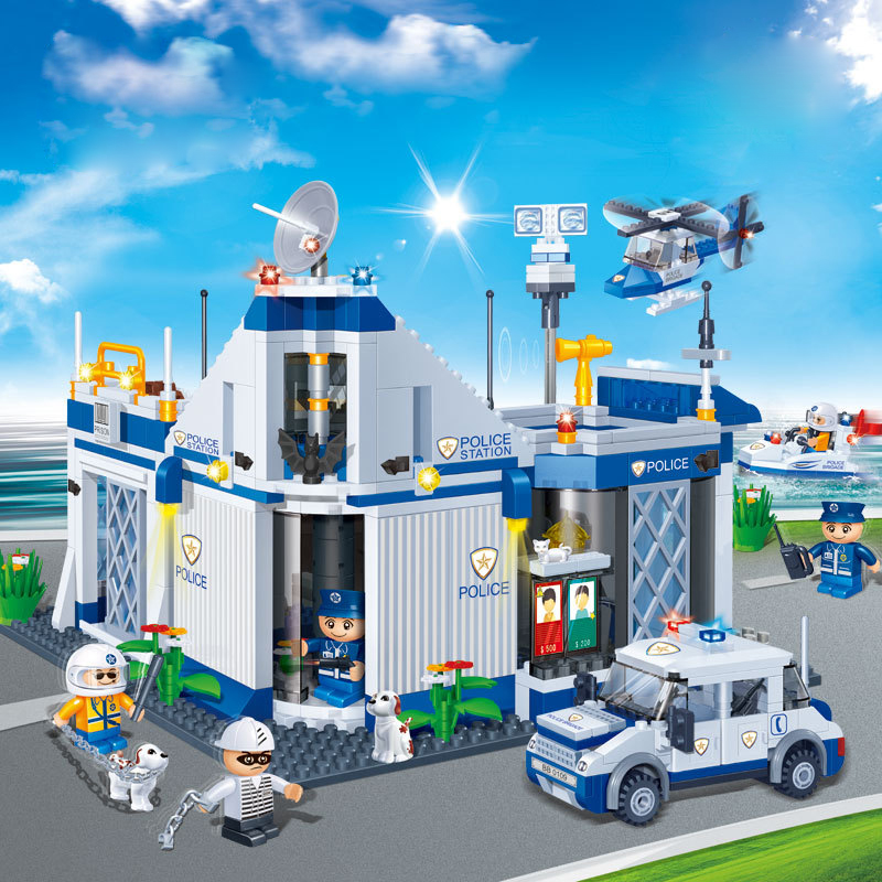QIMIAO   718 Pcs Police Headquarters Model self-locking bricks   City Building Blocks Toy  assemblage Building Blocks time2go time2go 718
