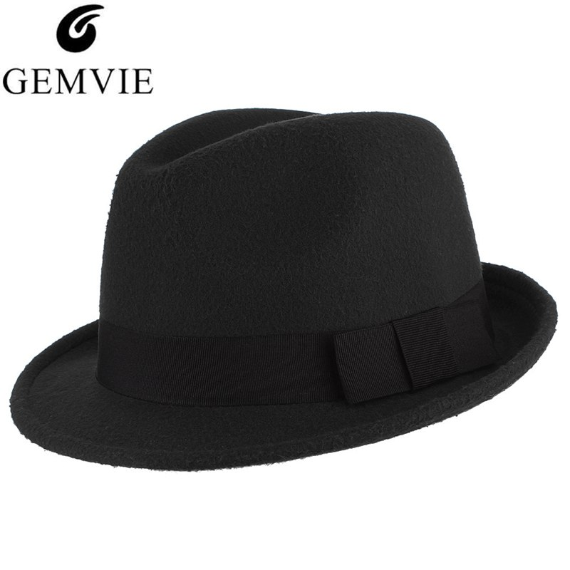 21cba464b14 5 Colors Autumn Winter Warm Felt Hats For Men Casual Solid Color Jazz Caps  Gangster Trilby