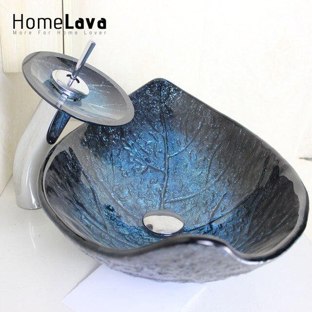 Moderne Qualität Blatt Gehärtetem Glas Waschbecken Wasserfall Waschbecken  Wasserhahn Set Badezimmer Waschbecken Waschen Schüssel Wasserhahn Blaue