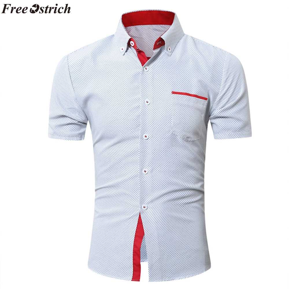 85e41decd0c2 FREE OSTRICH New 2019 Men s Shirts Male Casual Brand Slim Fit Designer  Solid Color Short Sleeve