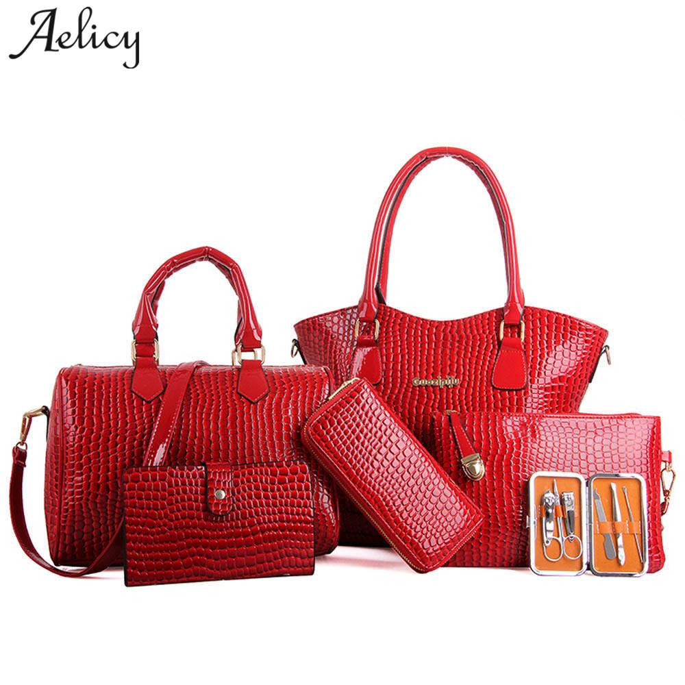 Schultertaschen Aelicy Luxus Handtasche Leder Frauen Umhängetaschen 6 Sätze Berühmte Marke Designer Frauen Taschen Damen Casual Tragetaschen Sac Ein Wichtigsten Mit Einem LangjäHrigen Ruf Damentaschen