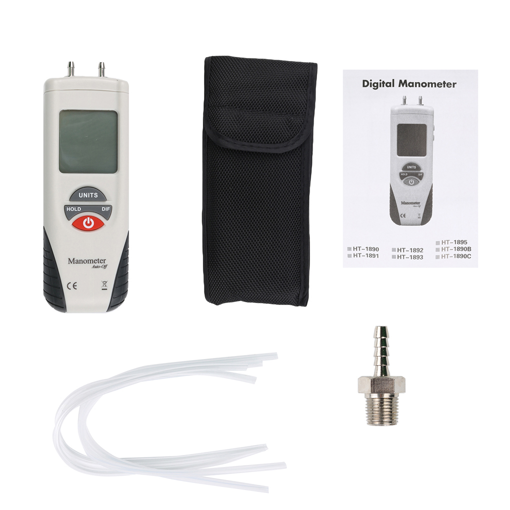 HT-1890 Mini 2Psi Digital Manometer Portable Air Pressure Differential Gauge Meter portable digital lcd display pressure manometer gm510 50kpa pressure differential manometer pressure gauge