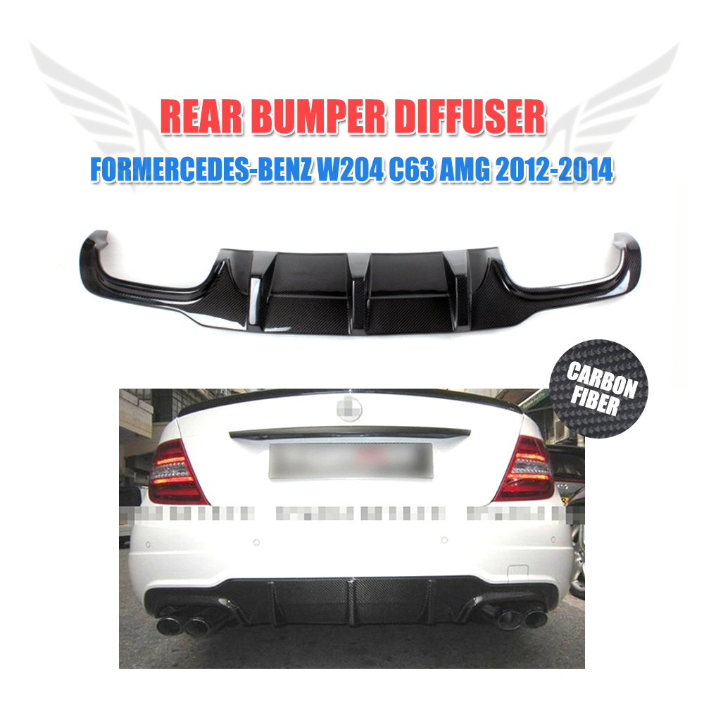 Carbon Fiber Rear Bumper Diffuser Lip <font><b>Spoiler</b></font> For <font><b>Mercedes</b></font> <font><b>Benz</b></font> <font><b>C</b></font> <font><b>Class</b></font> <font><b>W204</b></font> C63 AMG C300 Sport 2012 2013 2014 image