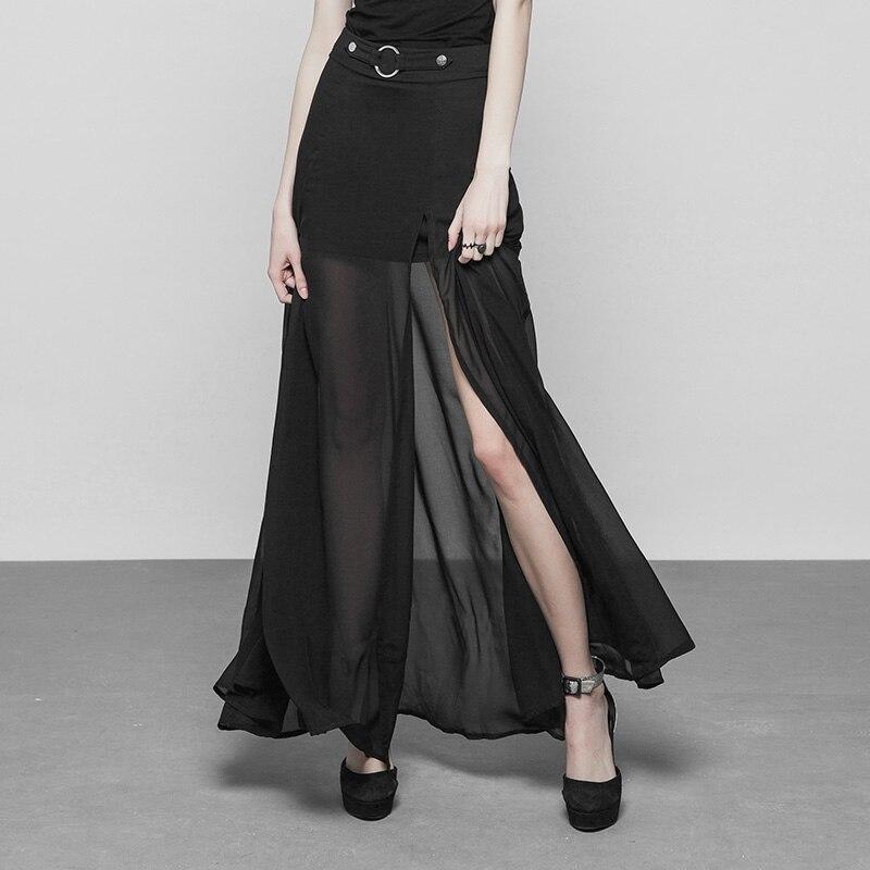 PUNK RAVE femmes jupe gothique longue deux couches en mousseline de soie joint torique et ceinture sangle Maxi jupe Sexy en mousseline de soie fente transparente dentelle jupe