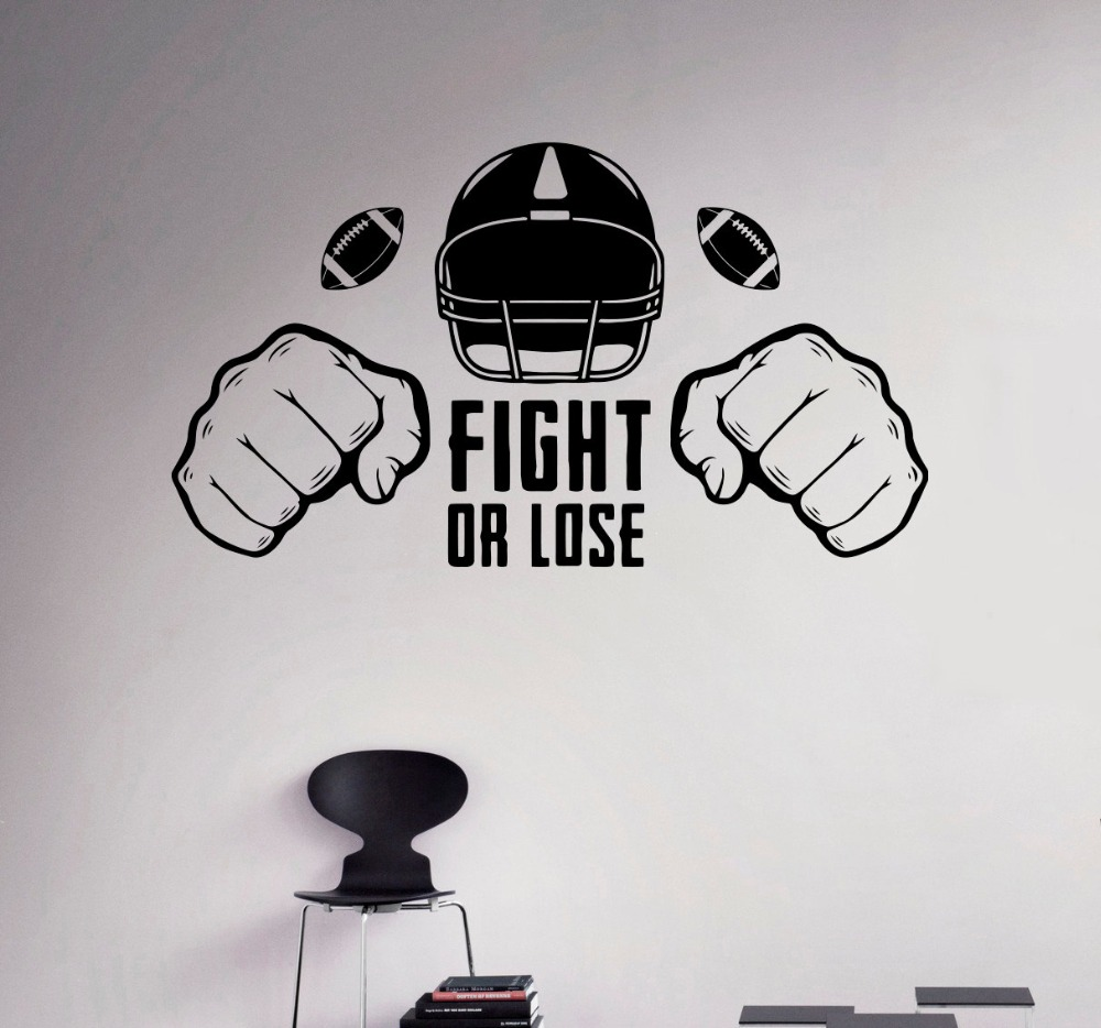 Fight or Lose Wall Decal America Football Vinyl Sticker Aggressive Sport Home Wall Bedroom Decor Art Murals adesivo NY-135