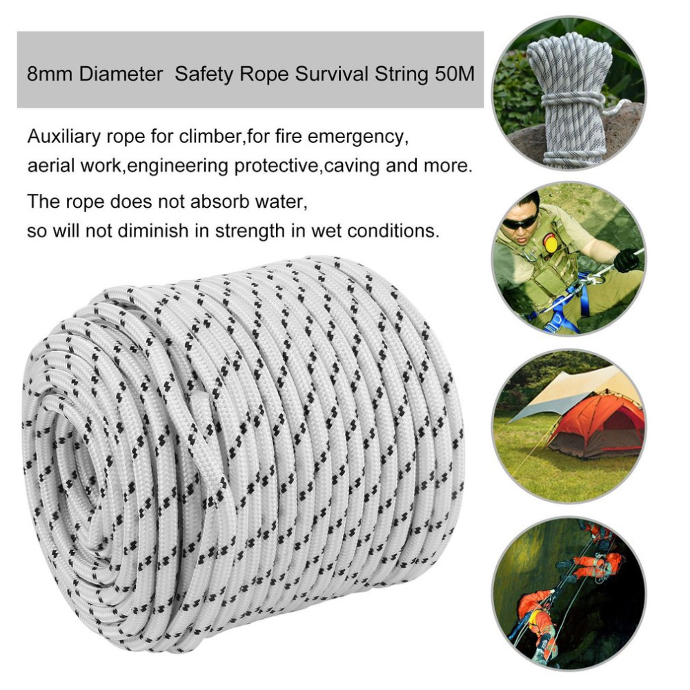 8mm 10mm Diameter 50M Outdoor Climbing Rope High Strength Survival Paracord Safety Rope Cord String Camping Climbing Accessories