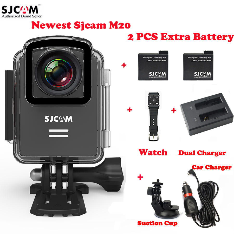 Original SJCAM M20 Wifi 4K 30M Waterproof Sports Action Camera Car DVR+2Battery+Dual Charger+Remote Watch+Car Charger+Sucker original sjcam m20 wifi 4k 24fps 30m waterproof sports action camera sj cam dvr 2 extra battery dual charger remote monopod