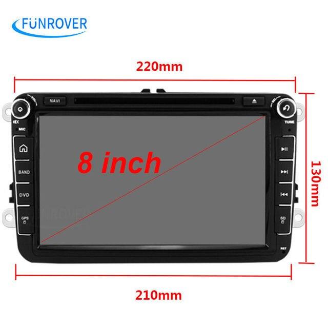 Funrover 2 Din Car DVD player  for VW Passat B6 5 Golf mk6 5 Polo Jetta Tiguan CC RNS 510 for skodaoctavia fabia miralink BT RDS