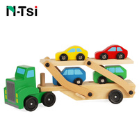N Tsi Wooden Car Carrier Truck Trailer Excavator Low Loader Kids Educational Vehicle Classic Toy Set