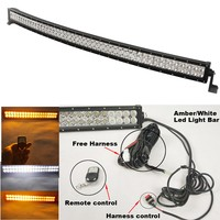 Remote Control 300W 52inch Curved White Amber LED Light Bar Flashing 24modes Waterproof for Jeep Van Wagon Pickup Off road