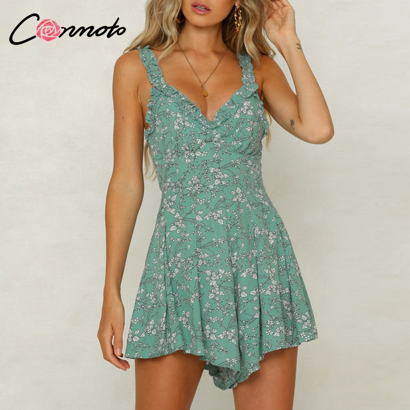 Conmoto Ruffles Shoulder Green Floral Women Vintage Casual Beach Playsuit Rompers Backless Sexy 2019 Summer Jumpsuit Romper-in Rompers from Women's Clothing on AliExpress - 11.11_Double 11_Singles' Day 1