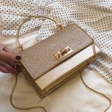 Роскошные Брендовые женские сумки с блестками, маленькие золотые цепи, сумки через плечо с клапаном, серебристые, черные, розовые сумки-мессенджеры