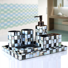 5 or 6 pcs luxury shell Toilet ceramic bathroom accessary set Liquid bottle cups Toothbrush holder Soap dispenser