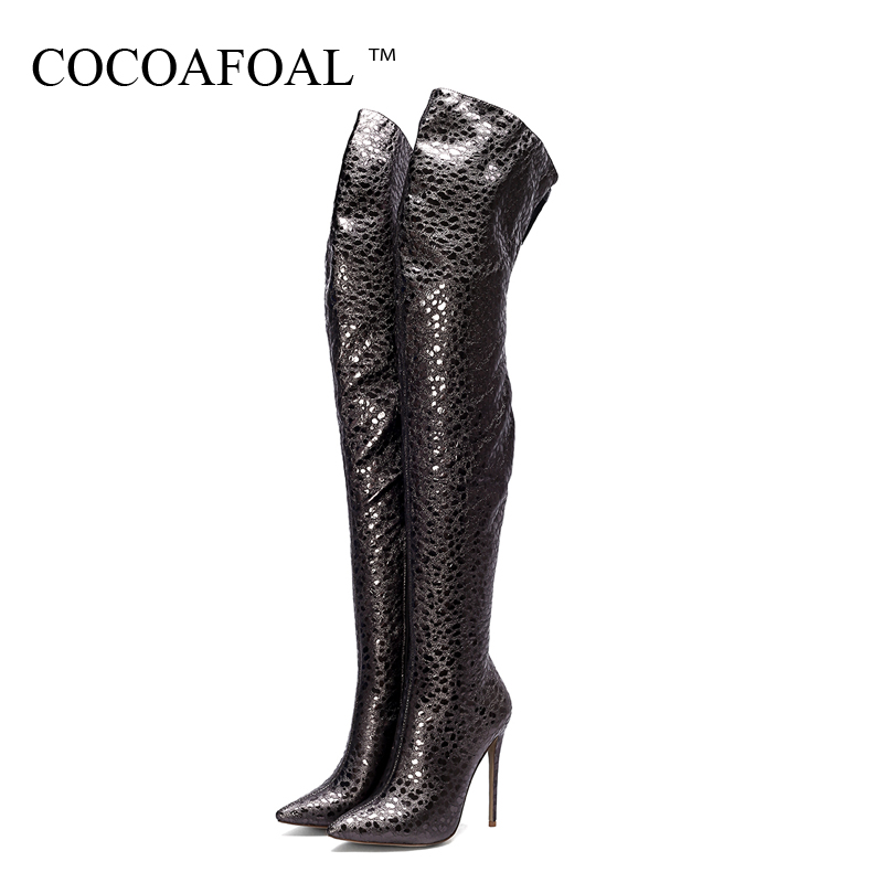 COCOAFOAL Women's Thigh High Boots Woman Over The Knee Boots Autumn Winter Fashion Black Plus Size 43 44 Women High Heeled Shoes l