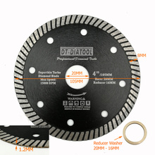 DT-DIATOOL Dia 105mm/4 Turbo Diamond DiscSuper-Thin Saw Blade Cutting Wheel for Tile Ceramic Marble Porcelain Thickness 1.2mm