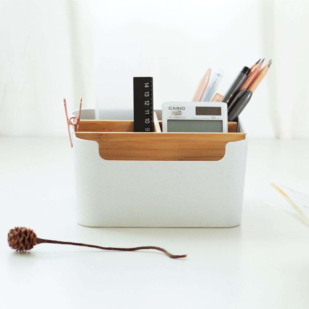 Pencil Holder 5 Compartments Stationery Desk Organizer Office Storage supplies Bamboo Organization Box for Living Room ...