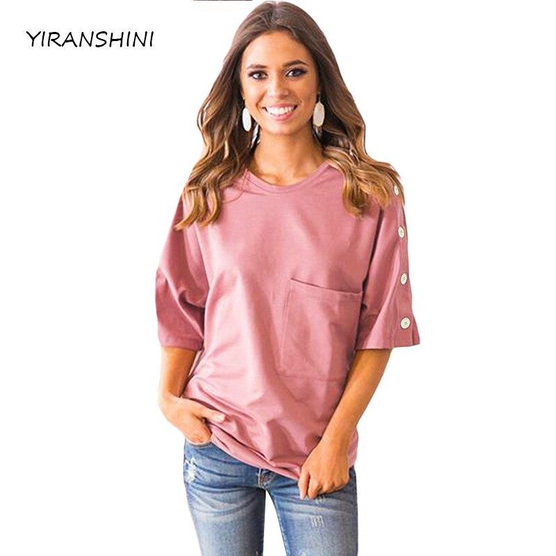 2018 neue Kommen Frauen Sommer Top Casual Frauen Halbe Hülse T-shirts Fashion Solid Rosa Button up Shift Top mit Tasche LC250067