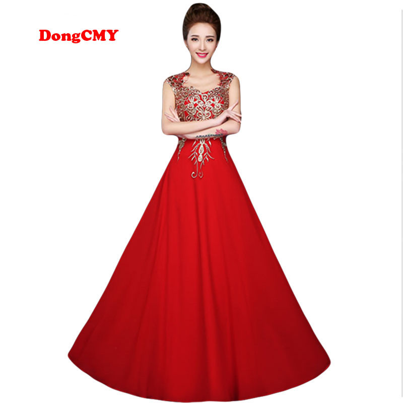 DongCMY 2019 red long design formal   dresses   female vestidos longo party gown   evening     dress