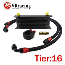 VR RACING-UNIVERSAL 16 ROWS OIL COOLER+OIL FILTER SANDWICH ADAPTER BLACK + SS NYLON STAINLESS STEEL BRAIDED AN10 HOSE
