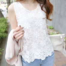 2018 New Women Sexy Blouse Shirt Summer Elegant Sleeveless White Black Crochet Lace Tops For Blusas Vest Camisa