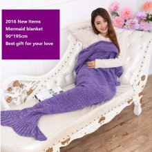 2016 New Items Solid Mermaid Blanket 195*90cm handmade crochet adult bed mermaid blanket for baby  super soft sleeping bag