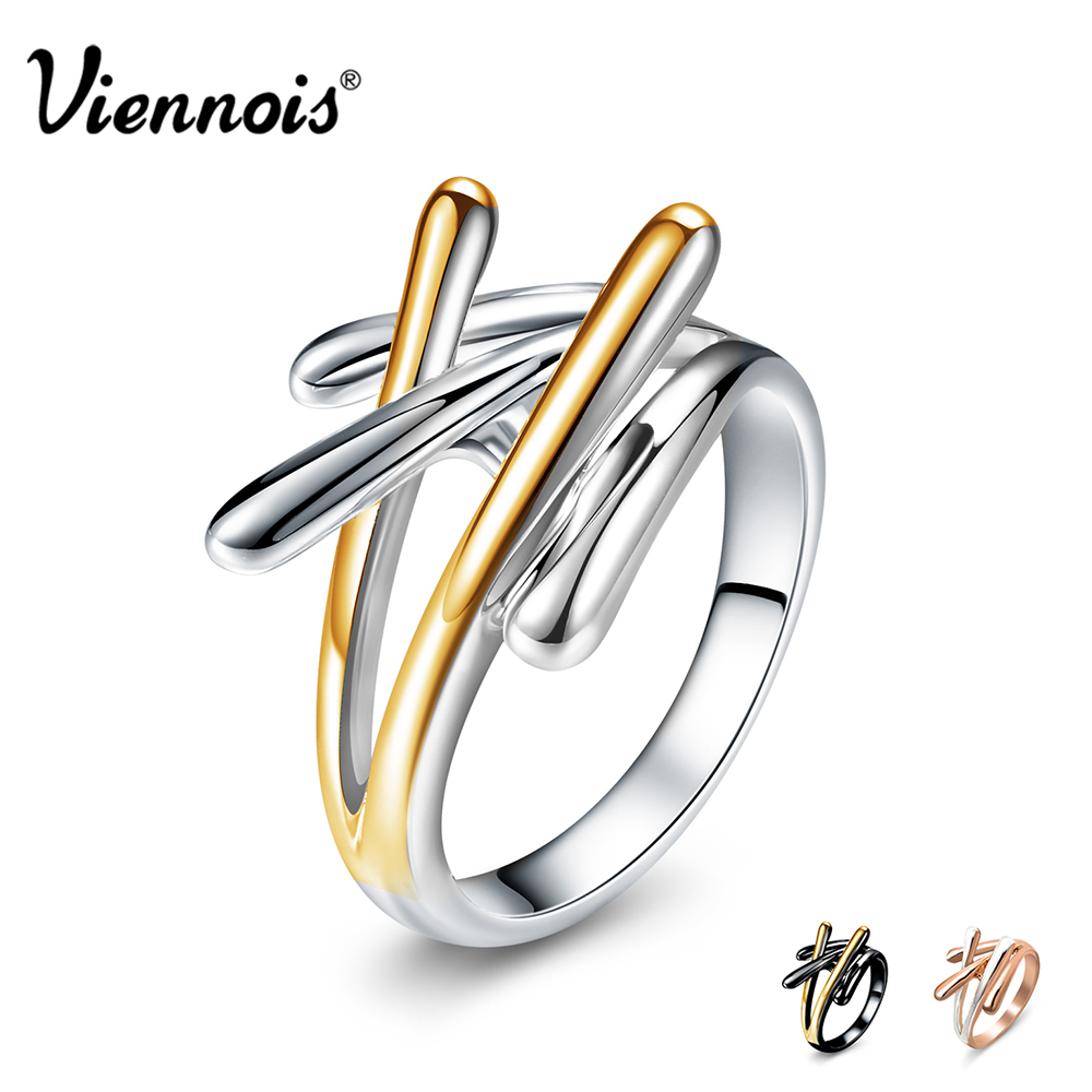 Viennois Brand New Fashion Jewelry Gold & Rose Gold & Gun Color Cross Rings For Women Size 7 8 9 Female Party Finger Ring отсутствует император александр ii и памятник ему в москве