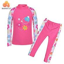 BAOHULU/купальный костюм с длинными рукавами для девочек(UPF50+), детские купальные костюмы, комплект из 2 предметов, купальный костюм с цветочным рисунком, детский купальный костюм для подростков, пляжная одежда