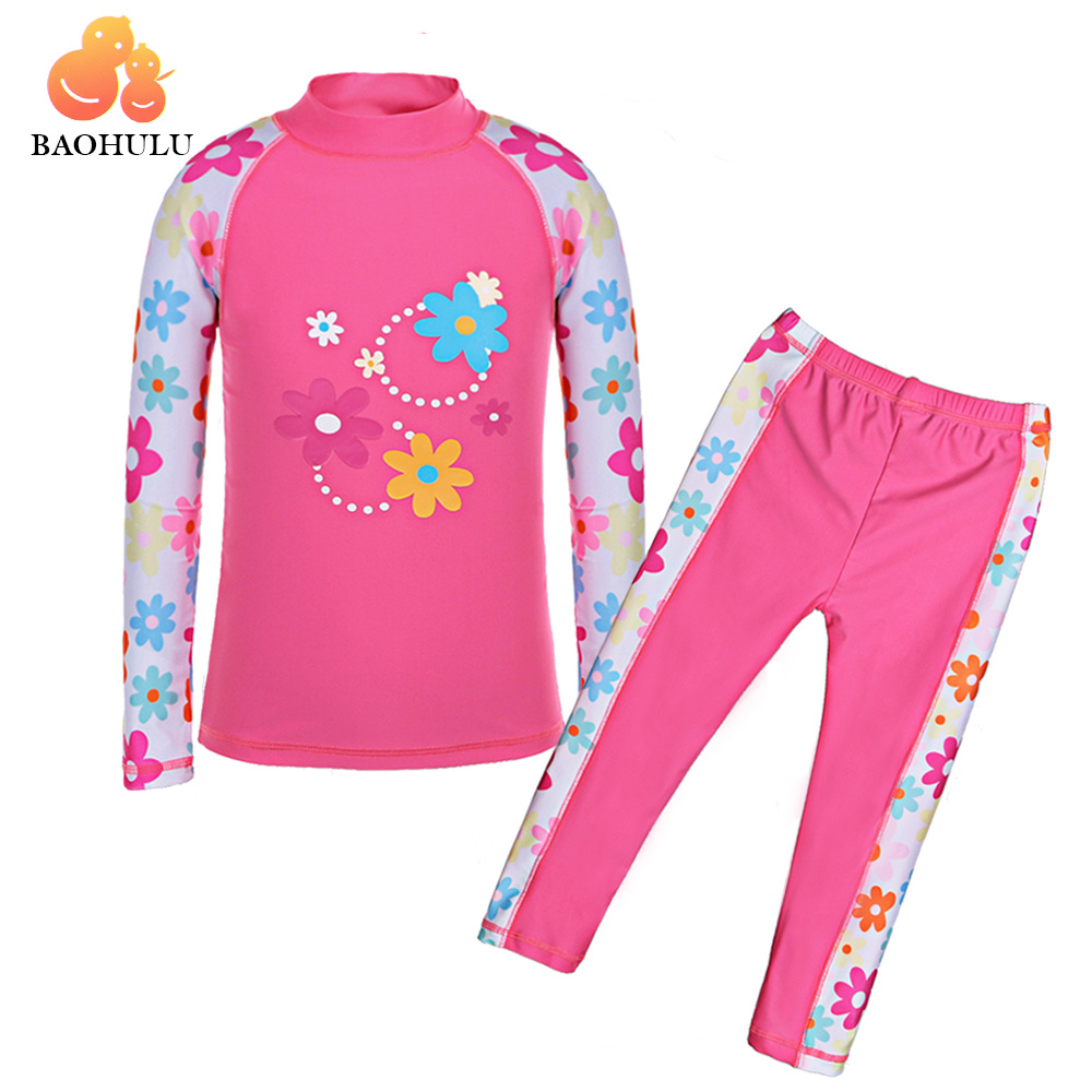 BAOHULU Long Sleeves (UPF50+) Girls Swimwear Children Swimming Suits 2pcs Set Floral Swimsuit Kids Teens Bathing Suit Beachwear