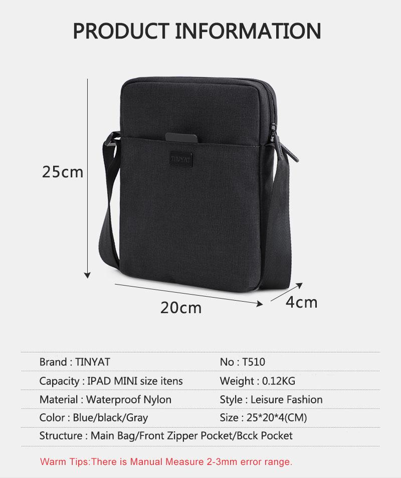 TINYAT Light Canvas Men's Shoulder Bag For 7.9' Ipad Casual Crossbody Bag Waterproof Business Shoulder bag for men 0.13kg 9
